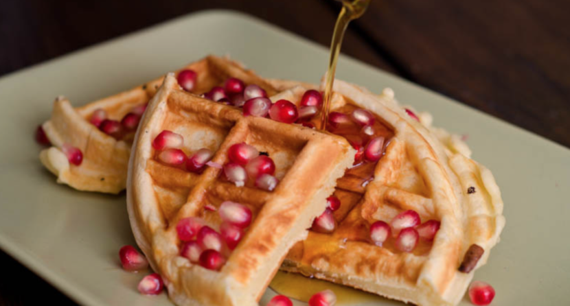 Almond Flour Waffles with Pomegranate
