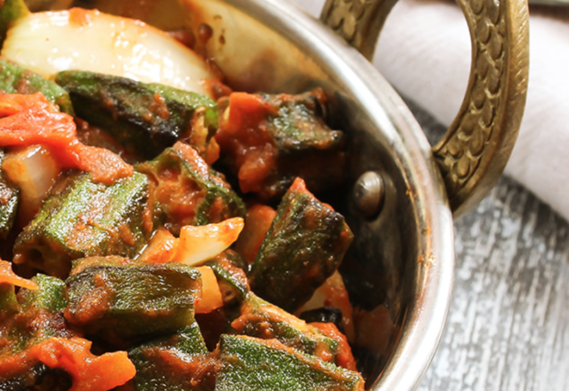 Spicy Okra with Garlic and Tomatoes