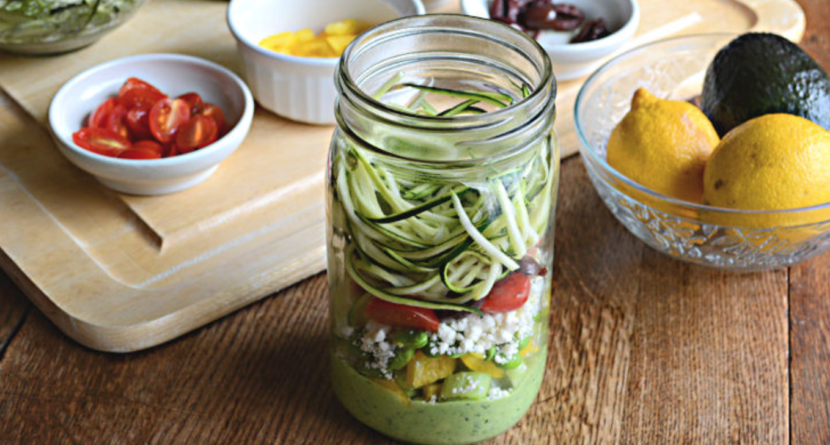 Mason Jar Zucchini Pasta Salad Healthy Recipe