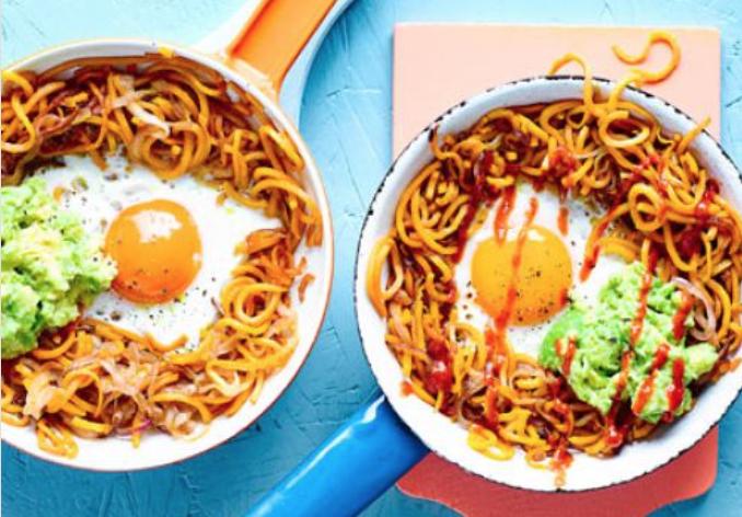 Sweet potato hash, eggs & avocado healthy recipe