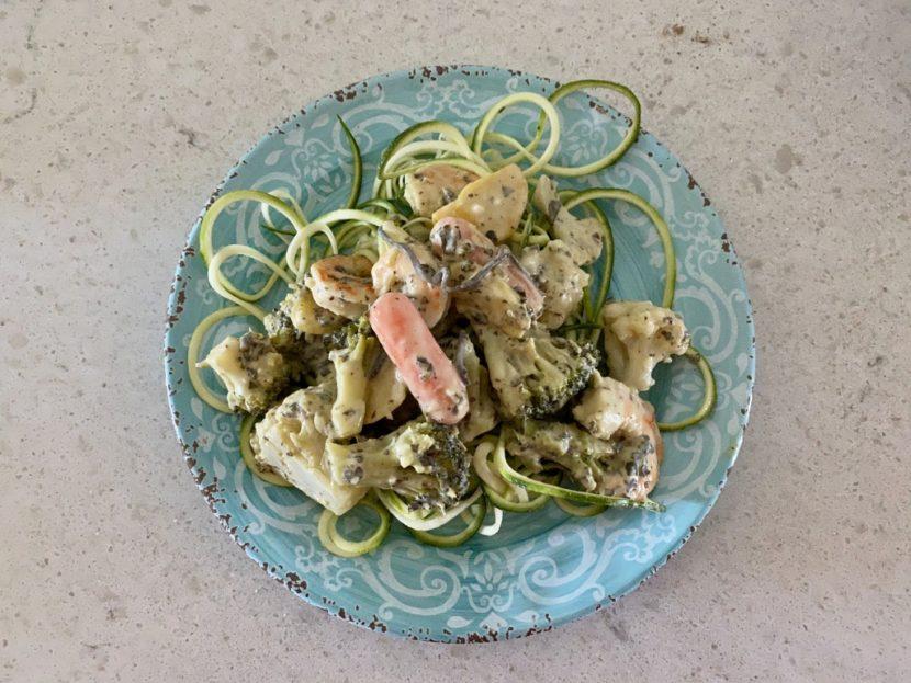 Zucchini Noodles Primavera with Shrimp and Avocado Sauce